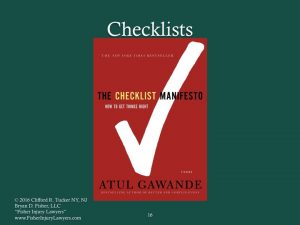 Checklists help ensure Competent Representation